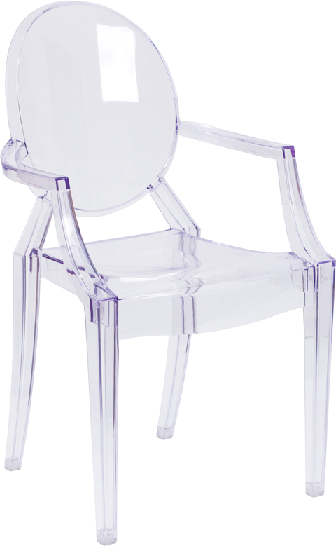 Wholesale Ghost Chair with Arms in Transparent Crystal
