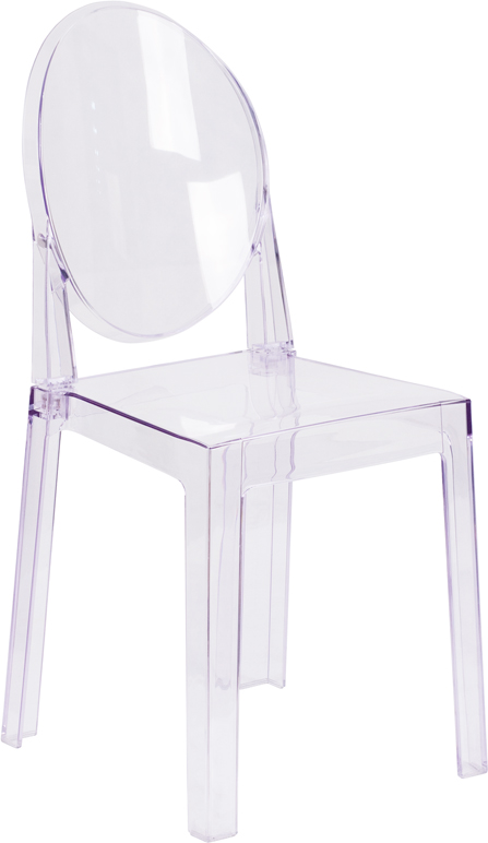 Wholesale Ghost Chair with Oval Back in Transparent Crystal