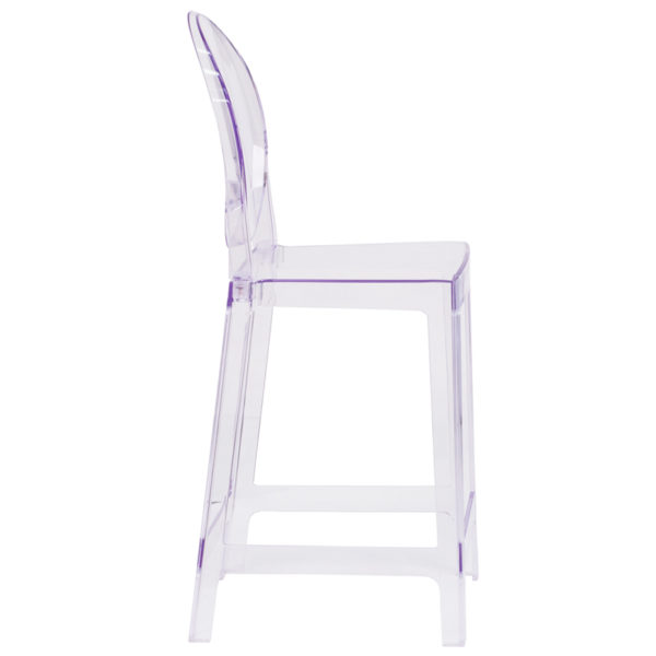 Lowest Price Ghost Counter Stool with Oval Back in Transparent Crystal