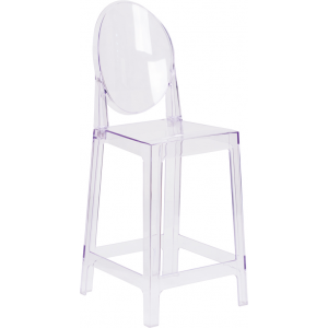 Wholesale Ghost Counter Stool with Oval Back in Transparent Crystal