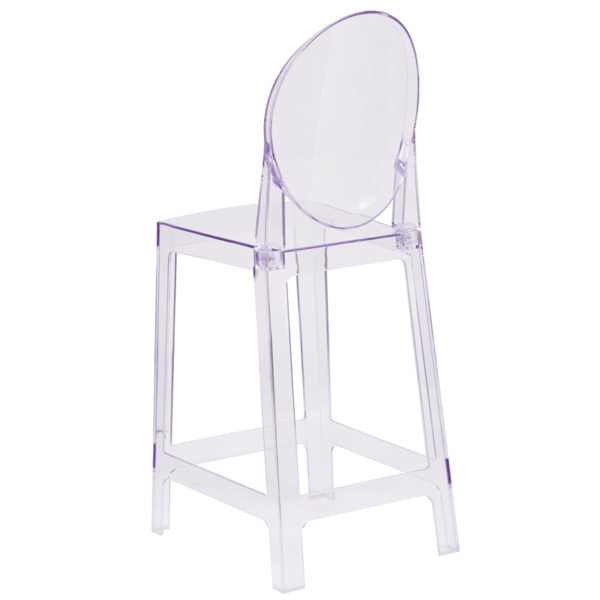 Contemporary Counter Stool Oval Back Ghost Counter Stool