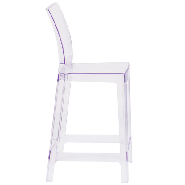 Lowest Price Ghost Counter Stool with Square Back in Transparent Crystal