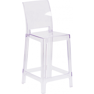 Wholesale Ghost Counter Stool with Square Back in Transparent Crystal