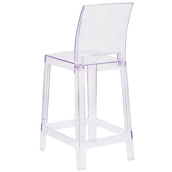 Contemporary Counter Stool Square Back Ghost Stool
