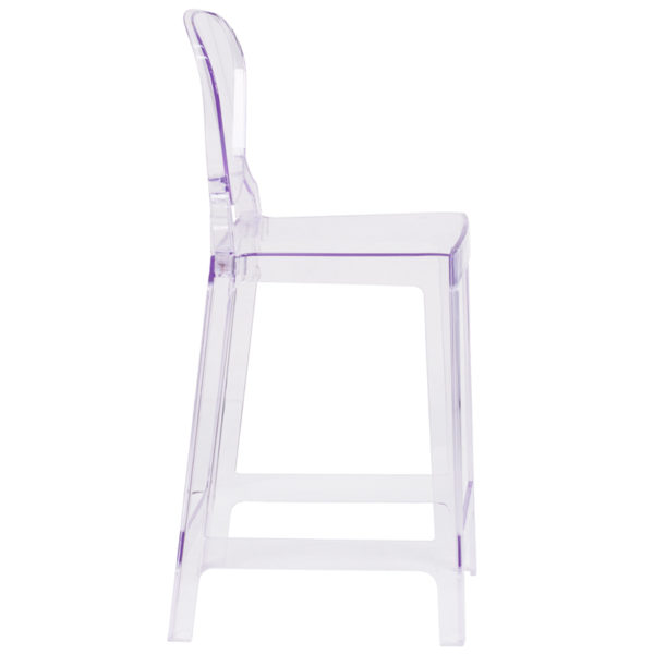 Lowest Price Ghost Counter Stool with Tear Back in Transparent Crystal