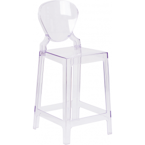 Wholesale Ghost Counter Stool with Tear Back in Transparent Crystal