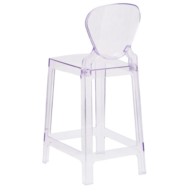 Contemporary Counter Stool Tear Back Ghost Counter Stool
