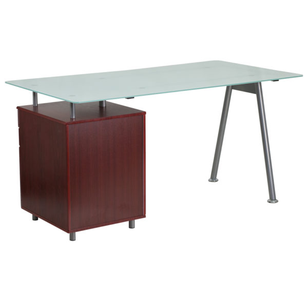 Lowest Price Glass Computer Desk with Mahogany Three Drawer Pedestal