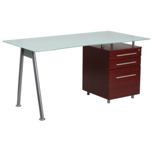 Wholesale Glass Computer Desk with Mahogany Three Drawer Pedestal