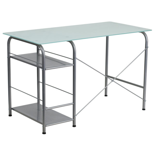 Lowest Price Glass Computer Desk with Open Storage