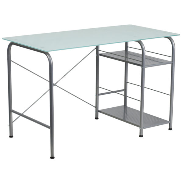 Wholesale Glass Computer Desk with Open Storage