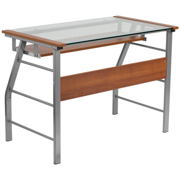 Lowest Price Glass Computer Desk with Pull-Out Keyboard Tray and Bowed Front Frame