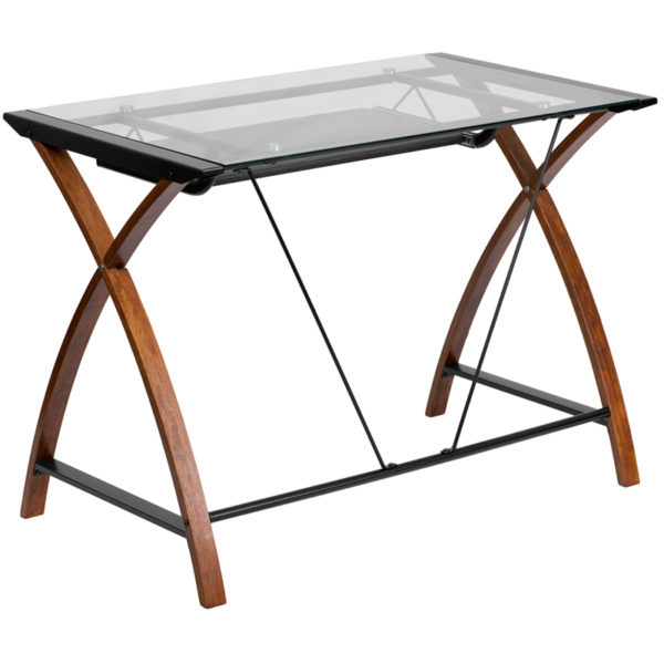 Lowest Price Glass Computer Desk with Pull-Out Keyboard Tray and Crisscross Frame