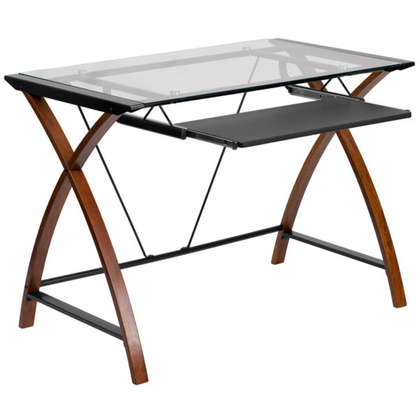 Wholesale Glass Computer Desk with Pull-Out Keyboard Tray and Crisscross Frame