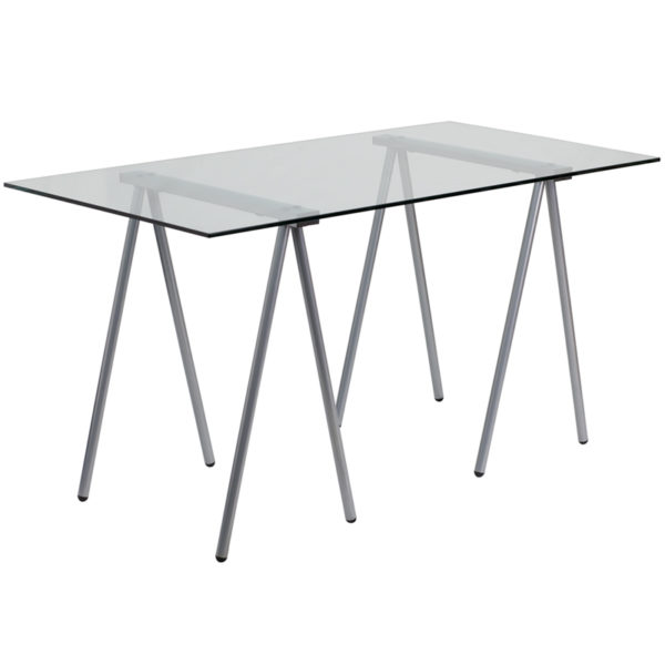 Wholesale Glass Computer Desk with Silver Metal Frame