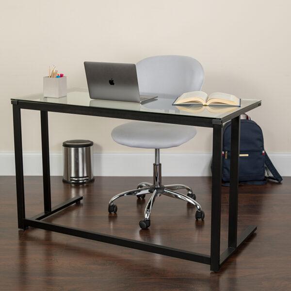 Lowest Price Glass Desk with Black Pedestal Metal Frame