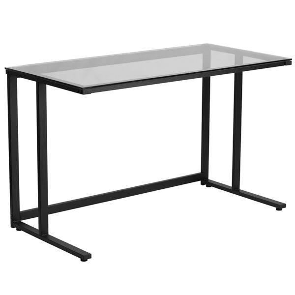 Contemporary Style Glass Pedestal Desk