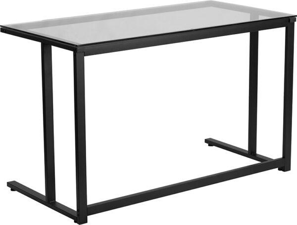 Wholesale Glass Desk with Black Pedestal Metal Frame