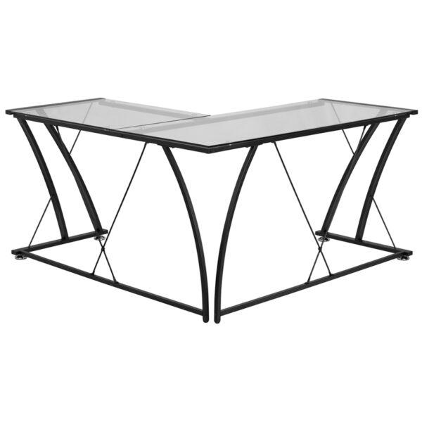 Lowest Price Glass L-Shape Computer Desk with Black Metal Frame