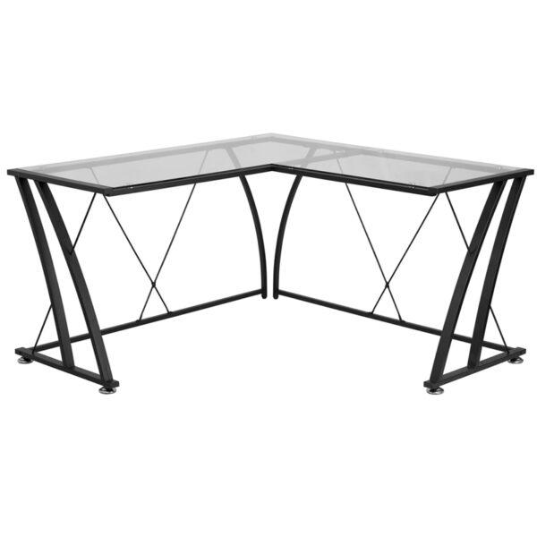 Wholesale Glass L-Shape Computer Desk with Black Metal Frame