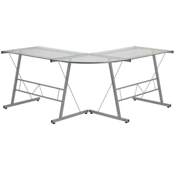 Lowest Price Glass L-Shape Computer Desk with Silver Metal Frame