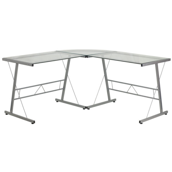 Wholesale Glass L-Shape Computer Desk with Silver Metal Frame
