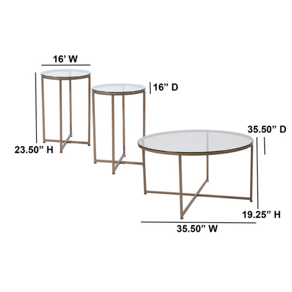 Lowest Price Greenwich Collection 3 Piece Coffee and End Table Set with Glass Tops and Matte Gold Frames