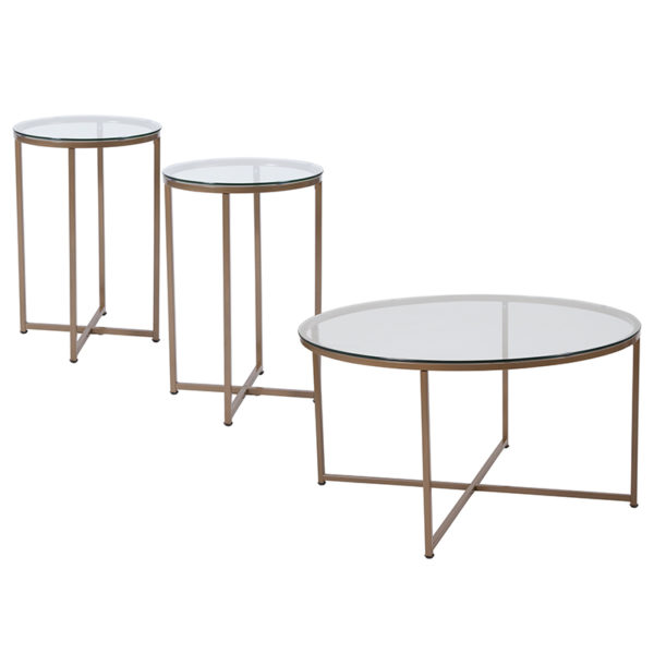 Wholesale Greenwich Collection 3 Piece Coffee and End Table Set with Glass Tops and Matte Gold Frames