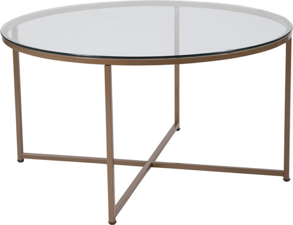 Wholesale Greenwich Collection Glass Coffee Table with Matte Gold Frame