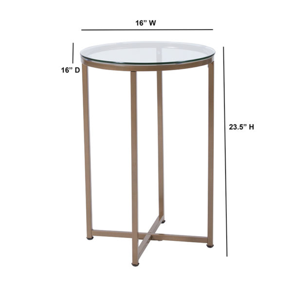 Lowest Price Greenwich Collection Glass End Table with Matte Gold Frame