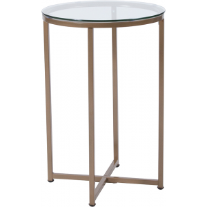 Wholesale Greenwich Collection Glass End Table with Matte Gold Frame