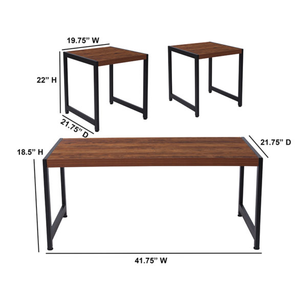 Lowest Price Grove Hill Collection 3 Piece Coffee and End Table Set in Rustic Wood Grain Finish and Black Metal Frames
