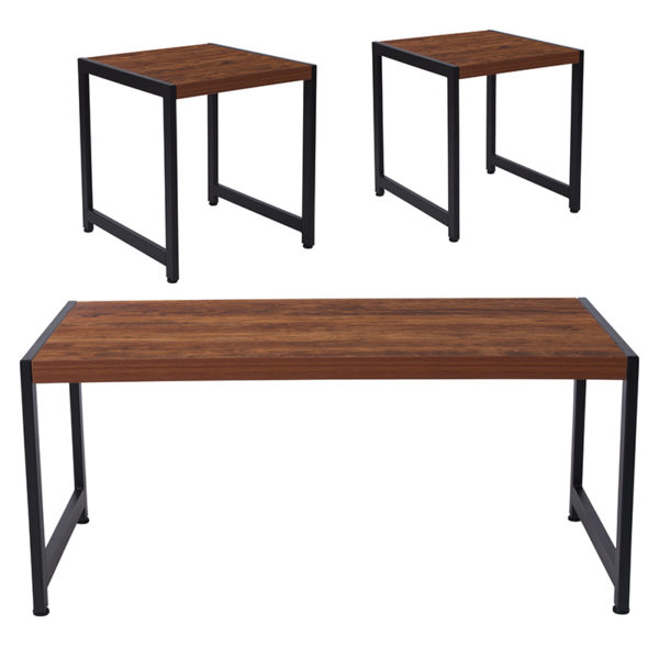 Wholesale Grove Hill Collection 3 Piece Coffee and End Table Set in Rustic Wood Grain Finish and Black Metal Frames