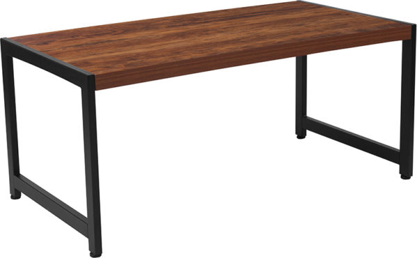 Wholesale Grove Hill Collection Rustic Wood Grain Finish Coffee Table with Black Metal Frame