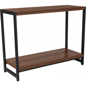 Wholesale Grove Hill Collection Rustic Wood Grain Finish Console Table with Black Metal Frame