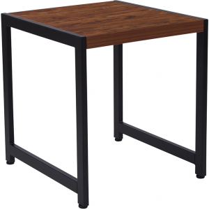Wholesale Grove Hill Collection Rustic Wood Grain Finish End Table with Black Metal Frame