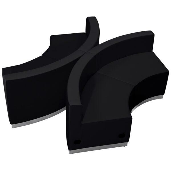 Wholesale HERCULES Alon Series Black Leather Reception Configuration