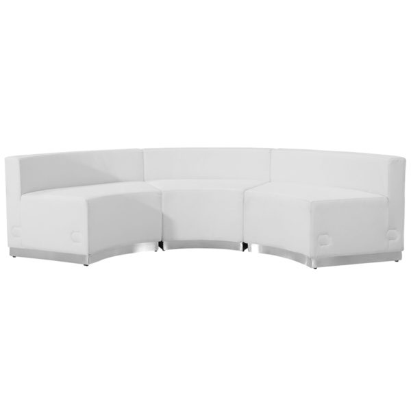 Contemporary Reception Set White Leather Recep Set