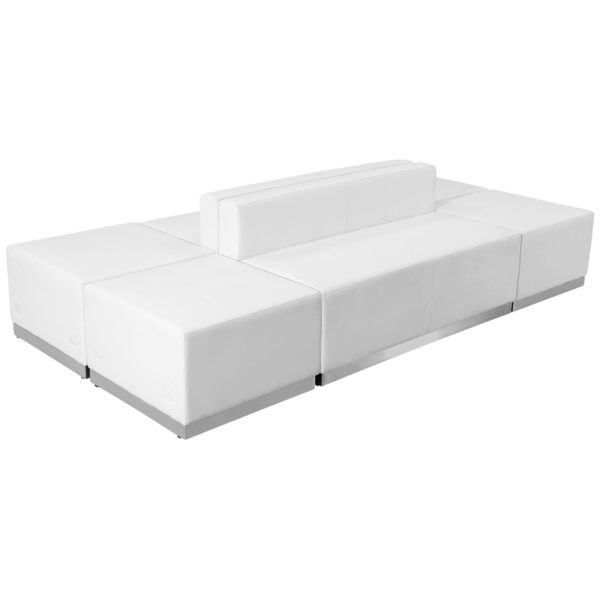 Wholesale HERCULES Alon Series Melrose White Leather Reception Configuration