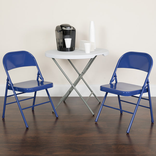 Lowest Price HERCULES COLORBURST Series Cobalt Blue Triple Braced & Double Hinged Metal Folding Chair
