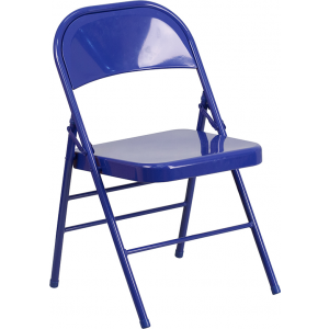 Wholesale HERCULES COLORBURST Series Cobalt Blue Triple Braced & Double Hinged Metal Folding Chair