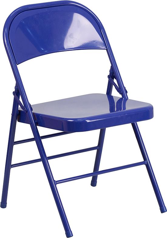 Wholesale HERCULES COLORBURST Series Cobalt Blue Triple Braced & Double Hinged Metal Folding Chair