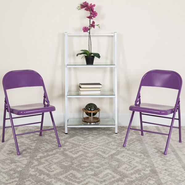 Lowest Price HERCULES COLORBURST Series Impulsive Purple Triple Braced & Double Hinged Metal Folding Chair