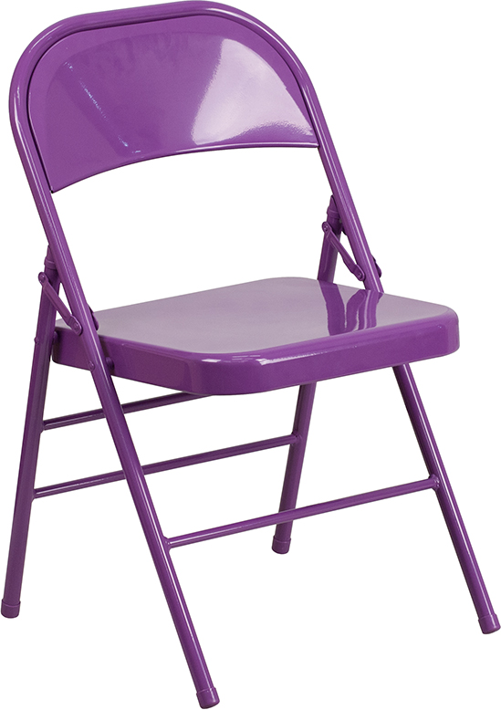 Wholesale HERCULES COLORBURST Series Impulsive Purple Triple Braced & Double Hinged Metal Folding Chair