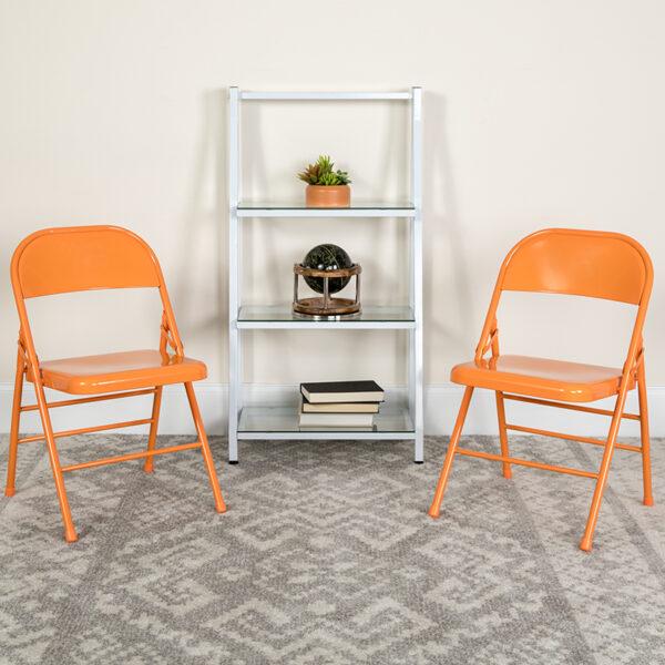 Lowest Price HERCULES COLORBURST Series Orange Marmalade Triple Braced & Double Hinged Metal Folding Chair