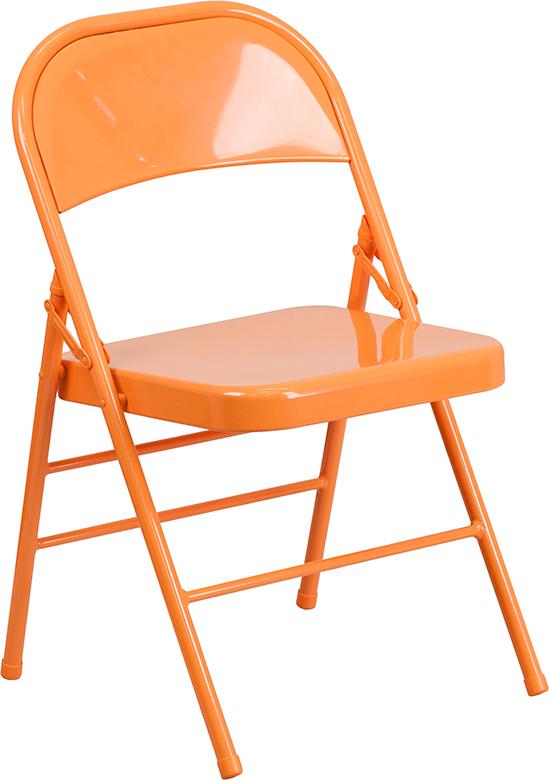 Wholesale HERCULES COLORBURST Series Orange Marmalade Triple Braced & Double Hinged Metal Folding Chair