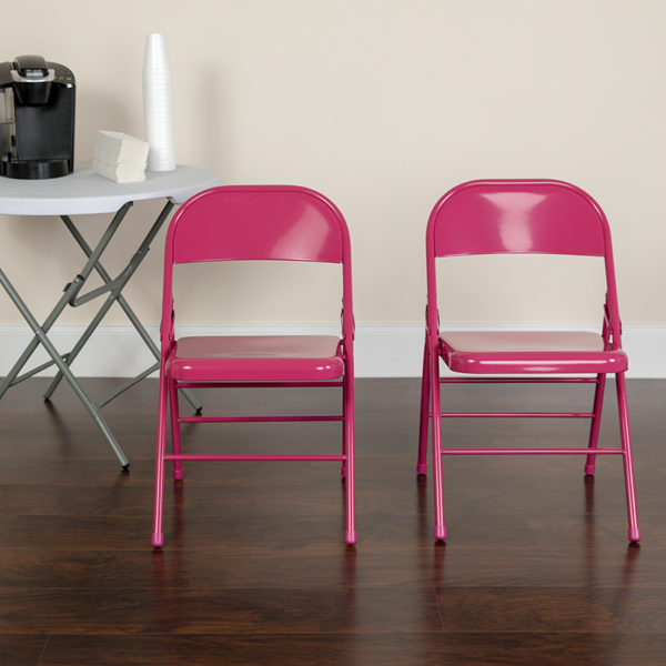 Lowest Price HERCULES COLORBURST Series Shockingly Fuchsia Triple Braced & Double Hinged Metal Folding Chair