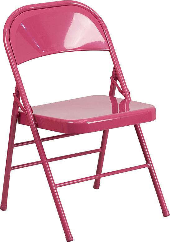 Wholesale HERCULES COLORBURST Series Shockingly Fuchsia Triple Braced & Double Hinged Metal Folding Chair
