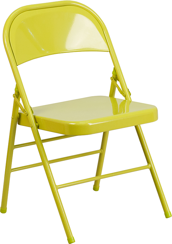 Wholesale HERCULES COLORBURST Series Twisted Citron Triple Braced & Double Hinged Metal Folding Chair