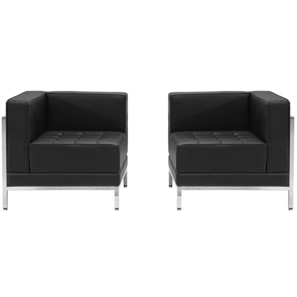 Wholesale HERCULES Imagination Series Black Leather 2 Piece Corner Chair Set